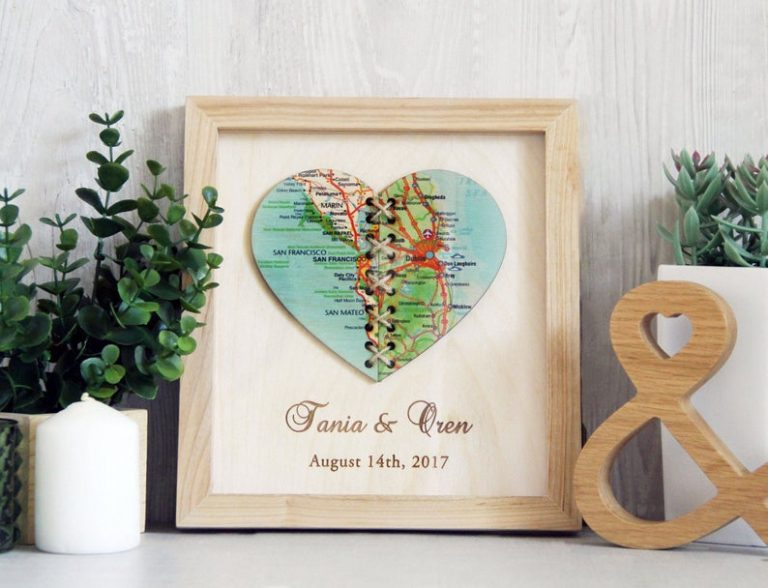 Personalized Wooden heart Map